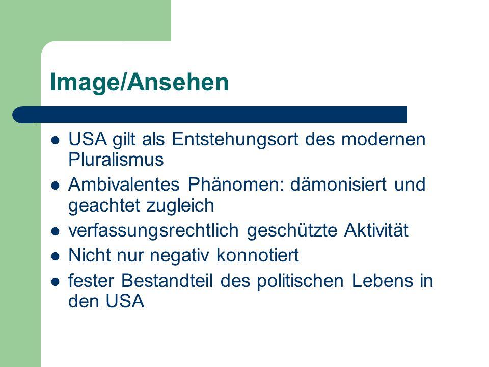 Image/Ansehen USA gilt als Entstehungsort des modernen Pluralismus Ambivalentes Phänomen: dämonisiert und geachtet zugleich verfassungsrechtlich gesch