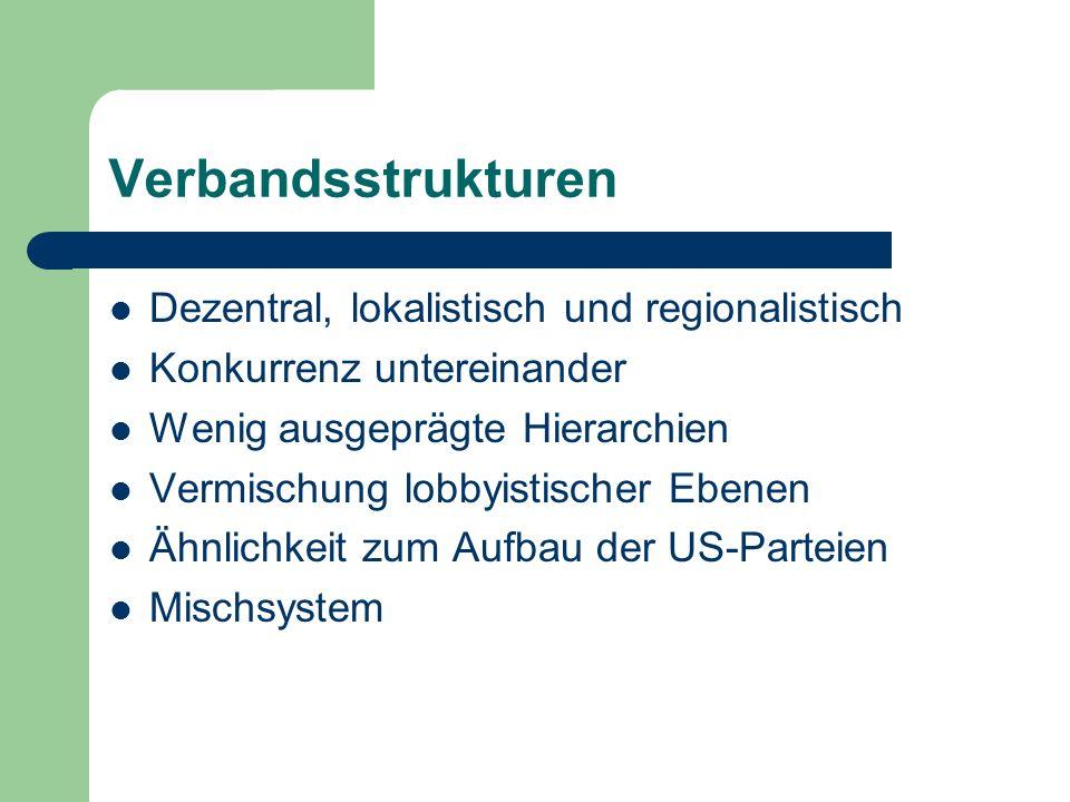 Verbandsstrukturen Dezentral, lokalistisch und regionalistisch Konkurrenz untereinander Wenig ausgeprägte Hierarchien Vermischung lobbyistischer Ebene