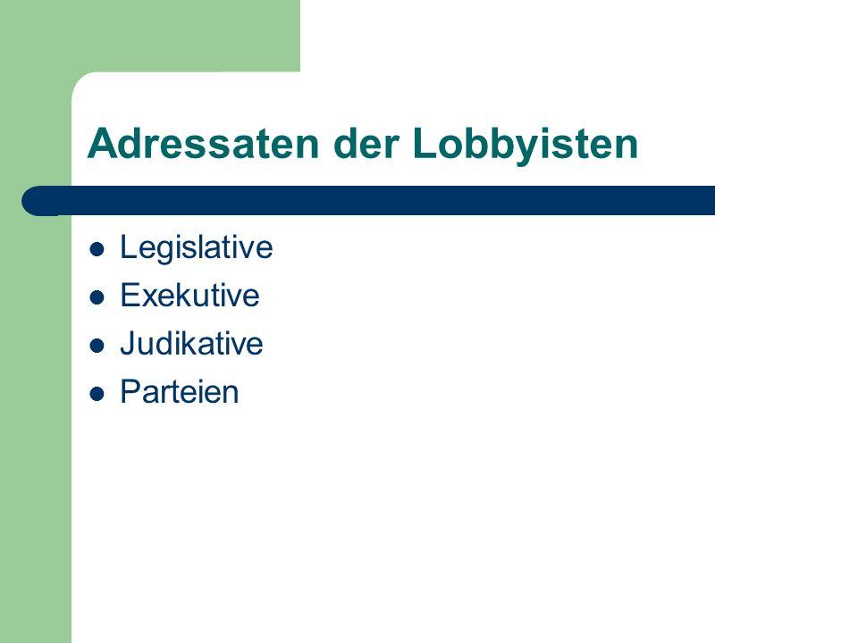Adressaten der Lobbyisten Legislative Exekutive Judikative Parteien