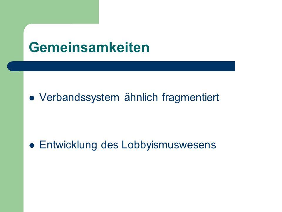 Gemeinsamkeiten Verbandssystem ähnlich fragmentiert Entwicklung des Lobbyismuswesens