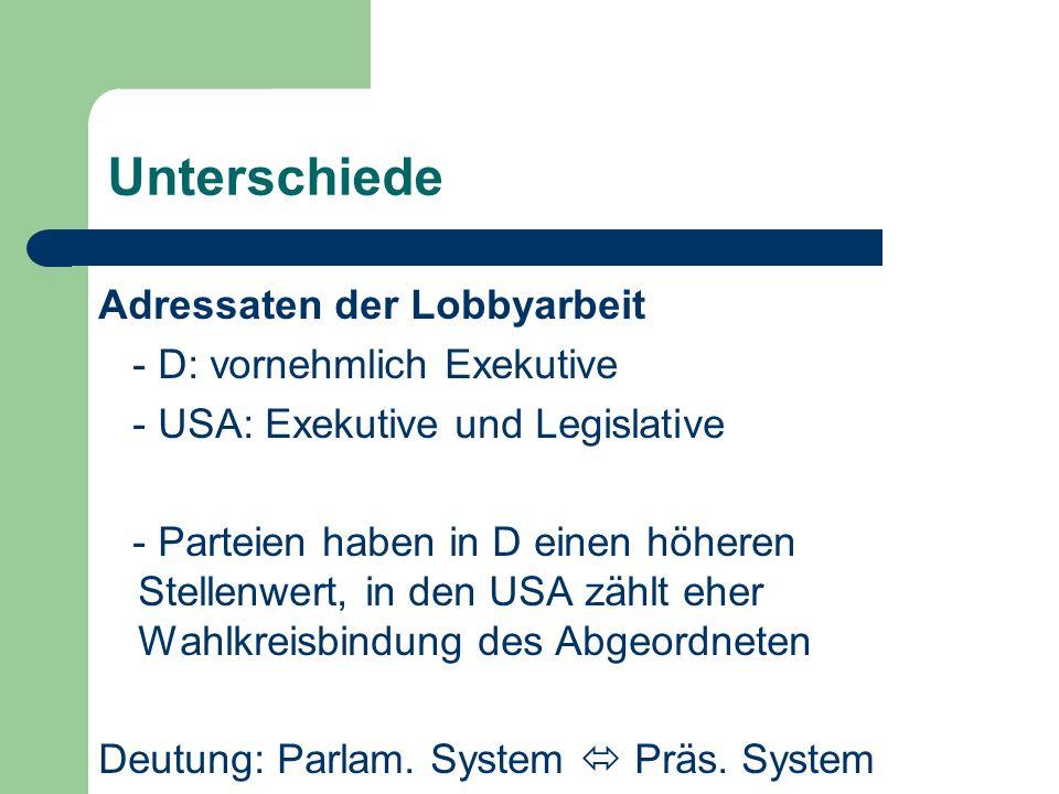 Unterschiede Adressaten der Lobbyarbeit - D: vornehmlich Exekutive - USA: Exekutive und Legislative - Parteien haben in D einen höheren Stellenwert, i