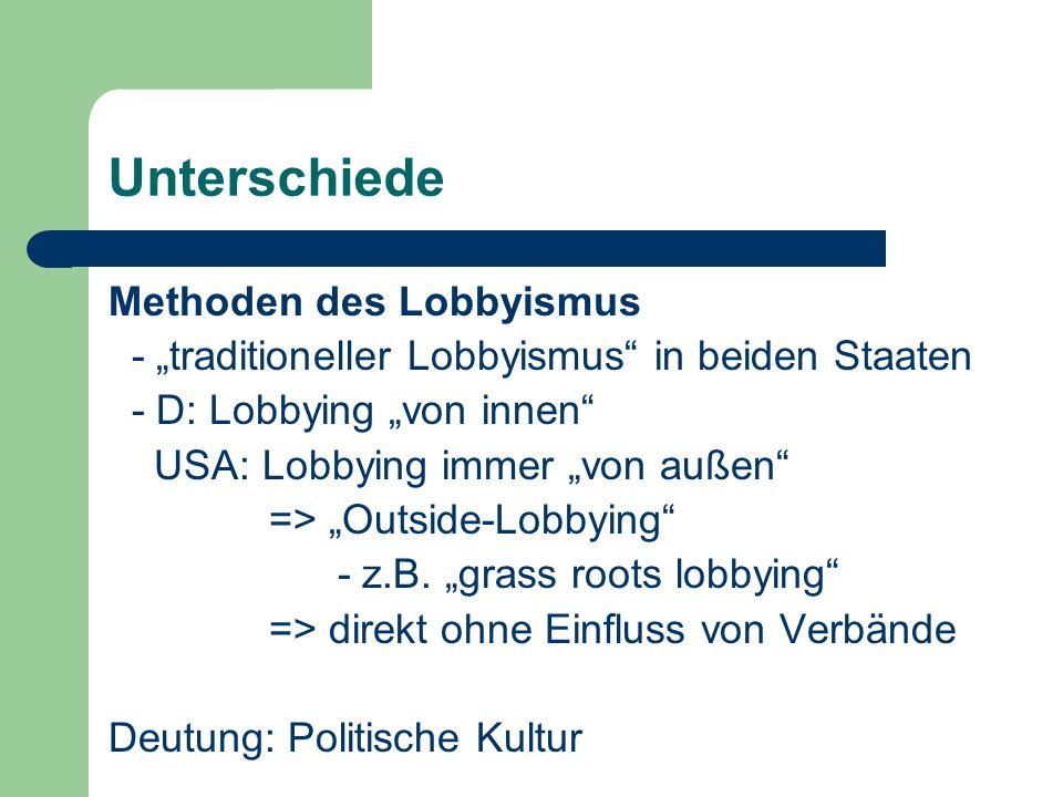Unterschiede Methoden des Lobbyismus - traditioneller Lobbyismus in beiden Staaten - D: Lobbying von innen USA: Lobbying immer von außen => Outside-Lo