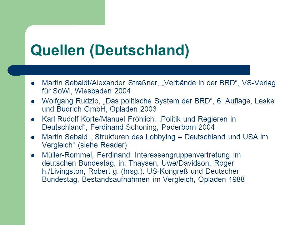 Quellen (Deutschland) Martin Sebaldt/Alexander Straßner, Verbände in der BRD, VS-Verlag für SoWi, Wiesbaden 2004 Wolfgang Rudzio, Das politische Syste