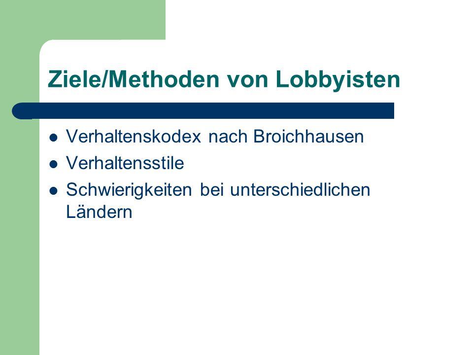 Richtlinien/Kontrolle Kontrolle nicht sehr regide Gesetze sind defizitär Federal Regulation of Lobbying Act: wurde 1995 reformiert: Lobbying Disclosure Act Keine Erhöhung der Kontrollwirkung