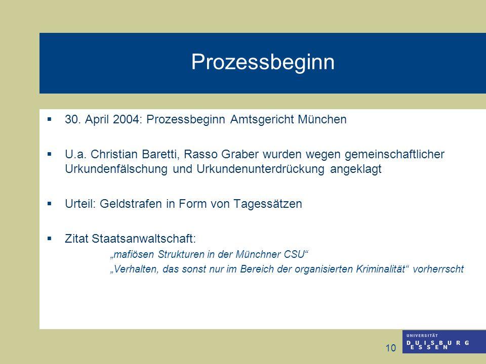 10 Prozessbeginn 30. April 2004: Prozessbeginn Amtsgericht München U.a. Christian Baretti, Rasso Graber wurden wegen gemeinschaftlicher Urkundenfälsch