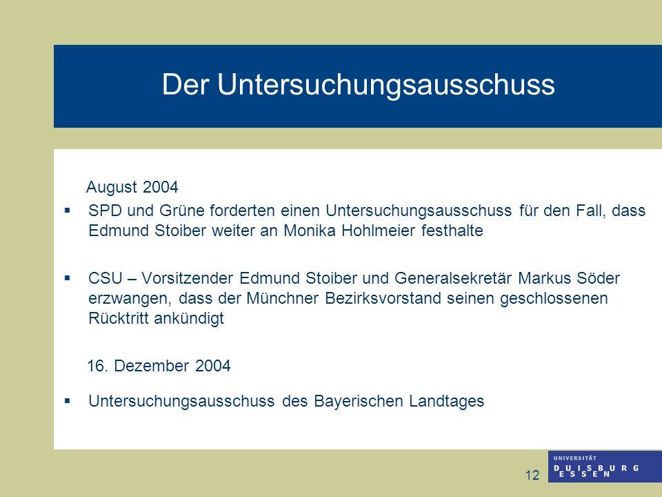 12 Der Untersuchungsausschuss August 2004 SPD und Grüne forderten einen Untersuchungsausschuss für den Fall, dass Edmund Stoiber weiter an Monika Hohl