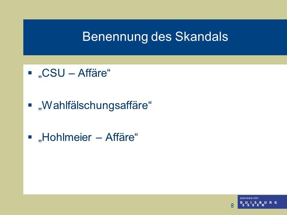 8 Benennung des Skandals CSU – Affäre Wahlfälschungsaffäre Hohlmeier – Affäre