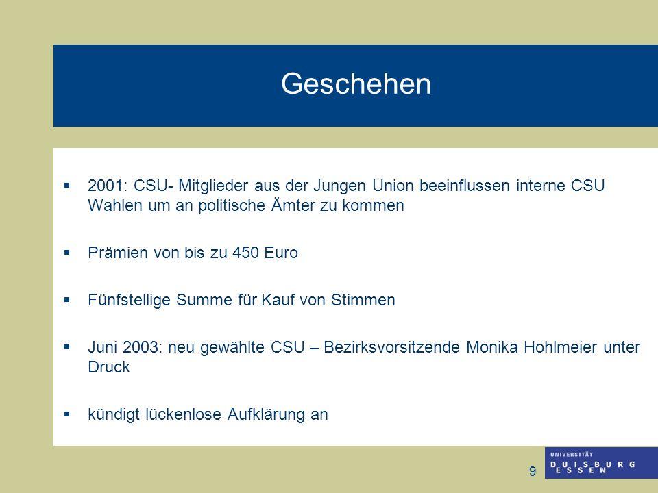 9 Geschehen 2001: CSU- Mitglieder aus der Jungen Union beeinflussen interne CSU Wahlen um an politische Ämter zu kommen Prämien von bis zu 450 Euro Fü