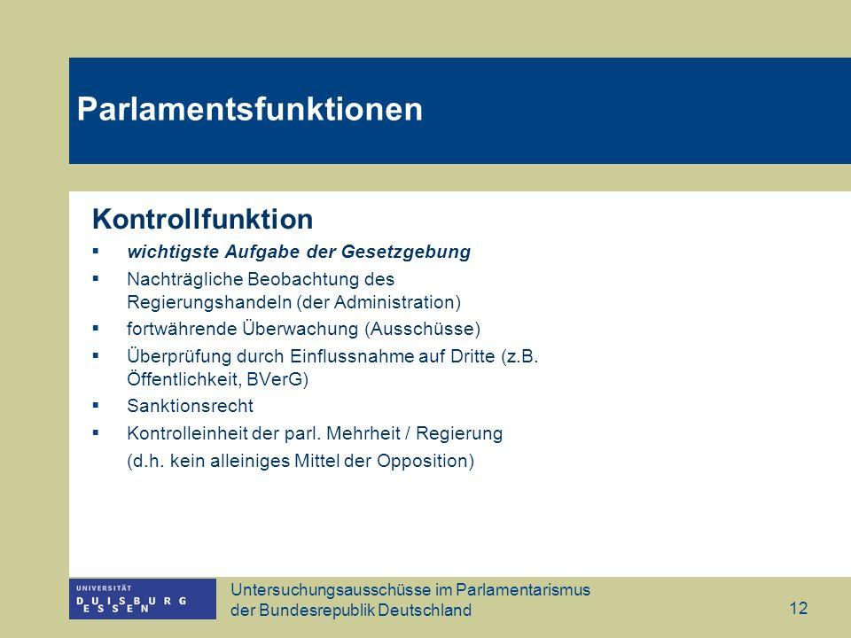 Untersuchungsausschüsse im Parlamentarismus der Bundesrepublik Deutschland 12 Parlamentsfunktionen Kontrollfunktion wichtigste Aufgabe der Gesetzgebun
