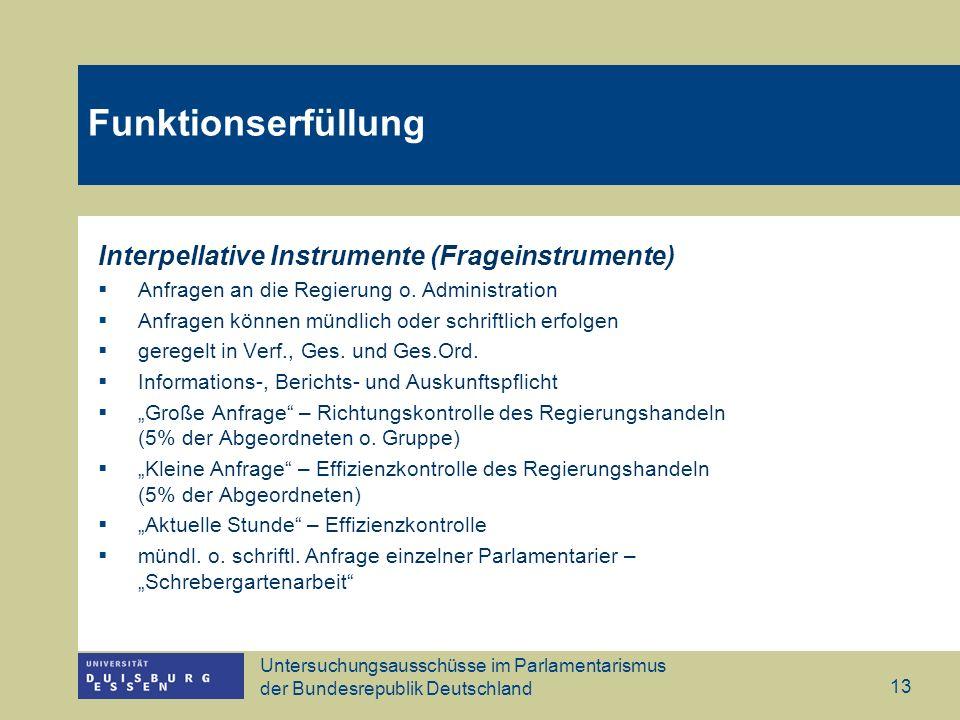 Untersuchungsausschüsse im Parlamentarismus der Bundesrepublik Deutschland 13 Funktionserfüllung Interpellative Instrumente (Frageinstrumente) Anfrage