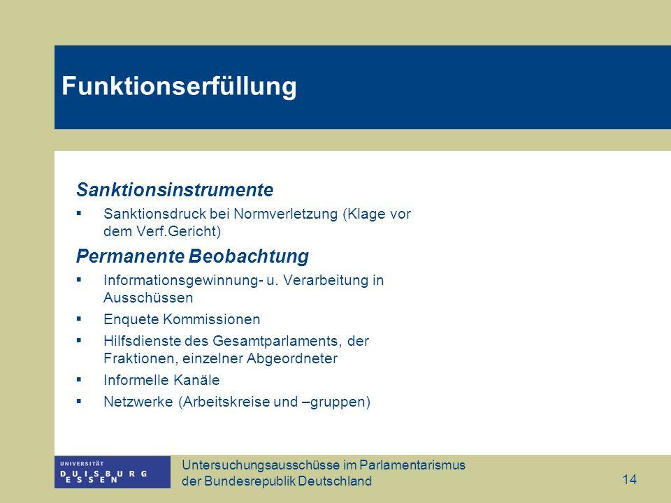 Untersuchungsausschüsse im Parlamentarismus der Bundesrepublik Deutschland 14 Funktionserfüllung Sanktionsinstrumente Sanktionsdruck bei Normverletzun
