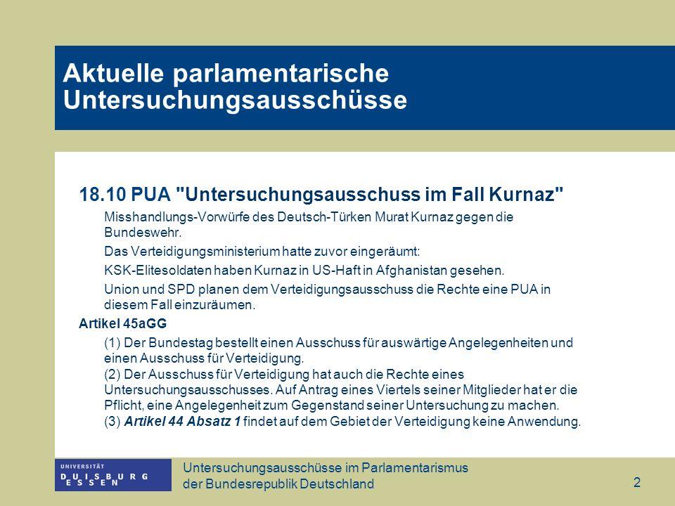 Untersuchungsausschüsse im Parlamentarismus der Bundesrepublik Deutschland 2 18.10 PUA