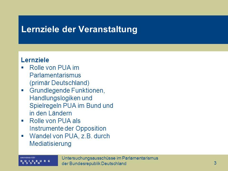 Untersuchungsausschüsse im Parlamentarismus der Bundesrepublik Deutschland 3 Lernziele der Veranstaltung Lernziele Rolle von PUA im Parlamentarismus (