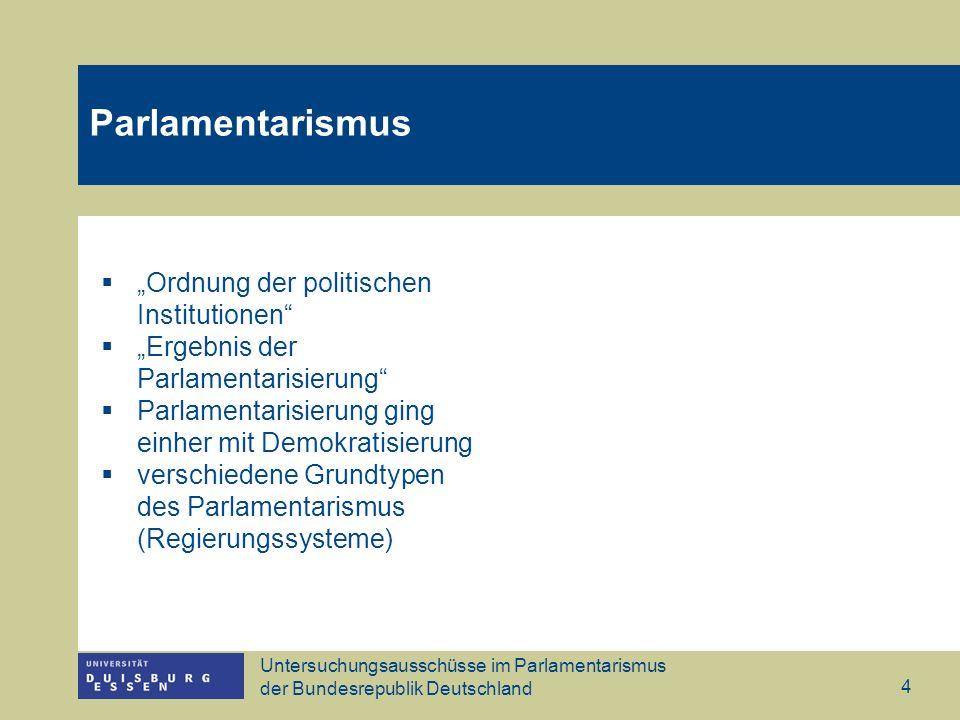 Untersuchungsausschüsse im Parlamentarismus der Bundesrepublik Deutschland 4 Parlamentarismus Ordnung der politischen Institutionen Ergebnis der Parla