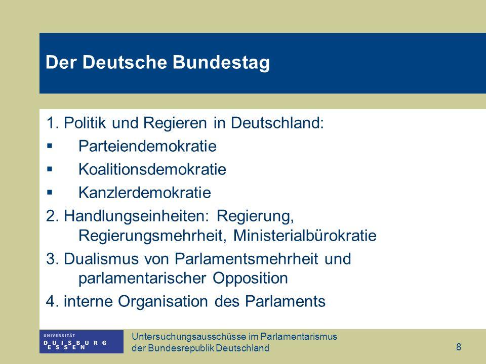 Untersuchungsausschüsse im Parlamentarismus der Bundesrepublik Deutschland 8 1. Politik und Regieren in Deutschland: Parteiendemokratie Koalitionsdemo