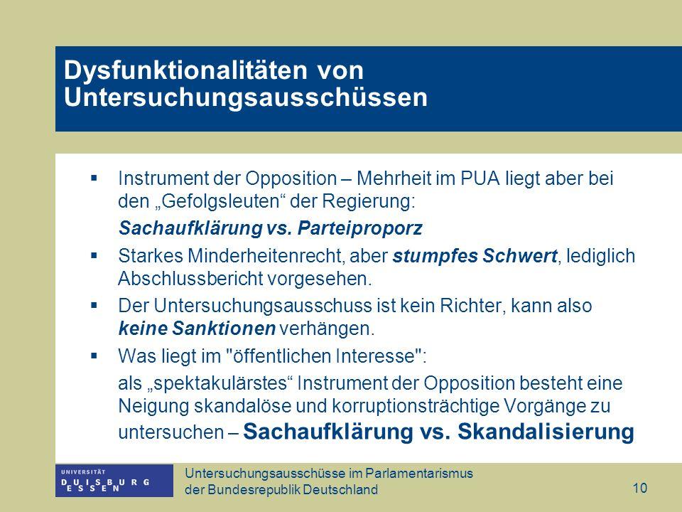 Untersuchungsausschüsse im Parlamentarismus der Bundesrepublik Deutschland 10 Dysfunktionalitäten von Untersuchungsausschüssen Instrument der Oppositi