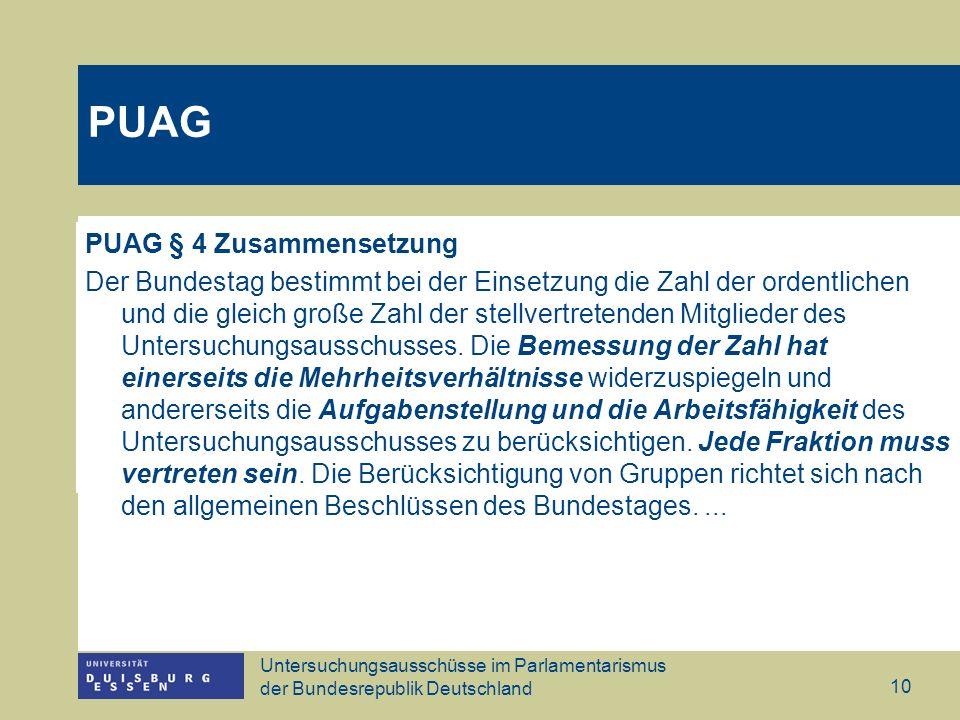 Untersuchungsausschüsse im Parlamentarismus der Bundesrepublik Deutschland 10 PUAG § 4 Zusammensetzung Der Bundestag bestimmt bei der Einsetzung die Z