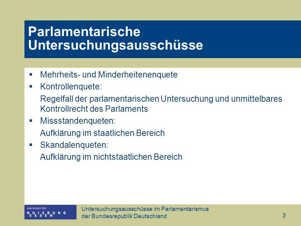 Untersuchungsausschüsse im Parlamentarismus der Bundesrepublik Deutschland 3 Parlamentarische Untersuchungsausschüsse Mehrheits- und Minderheitenenque