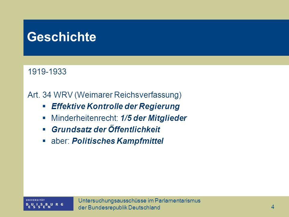 Untersuchungsausschüsse im Parlamentarismus der Bundesrepublik Deutschland 4 Geschichte 1919-1933 Art. 34 WRV (Weimarer Reichsverfassung) Effektive Ko