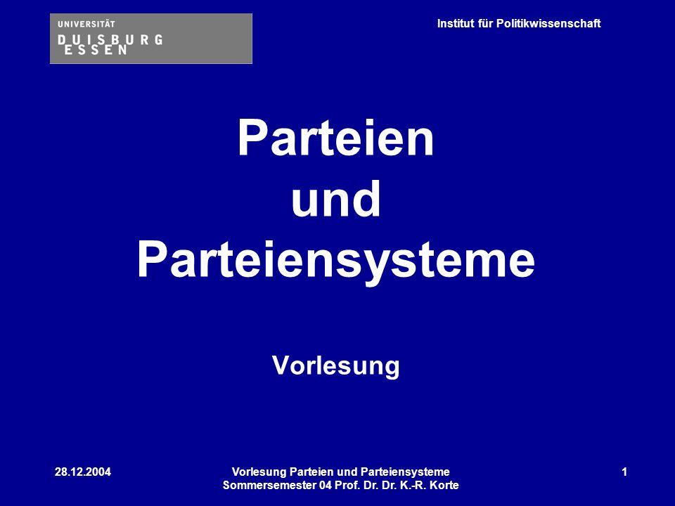 Institut für Politikwissenschaft 28.12.2004Vorlesung Parteien und Parteiensysteme Sommersemester 04 Prof. Dr. Dr. K.-R. Korte 1 Parteien und Parteiens