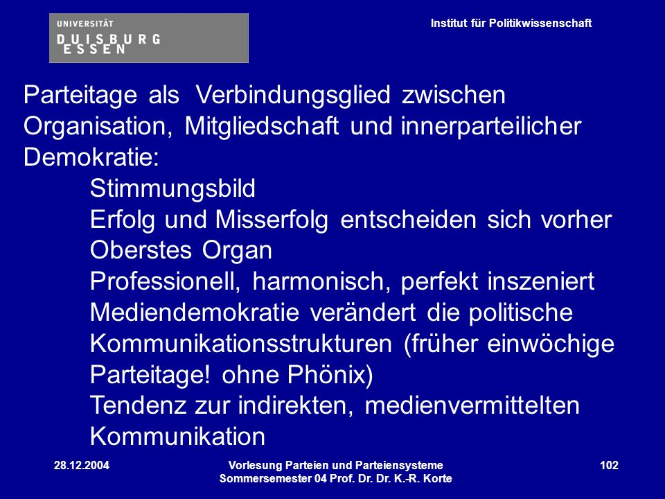 Institut für Politikwissenschaft 28.12.2004Vorlesung Parteien und Parteiensysteme Sommersemester 04 Prof. Dr. Dr. K.-R. Korte 102 Parteitage als Verbi