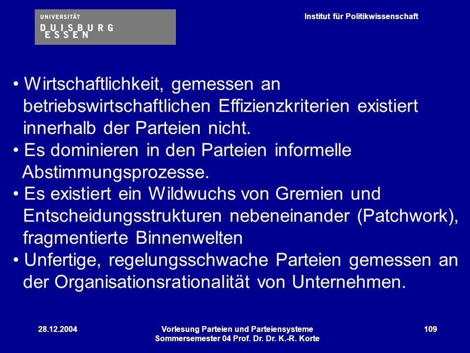 Institut für Politikwissenschaft 28.12.2004Vorlesung Parteien und Parteiensysteme Sommersemester 04 Prof. Dr. Dr. K.-R. Korte 109 Wirtschaftlichkeit,
