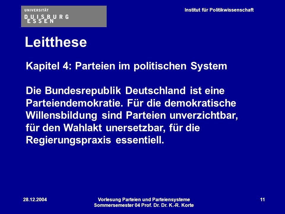Institut für Politikwissenschaft 28.12.2004Vorlesung Parteien und Parteiensysteme Sommersemester 04 Prof. Dr. Dr. K.-R. Korte 11 Leitthese Kapitel 4: