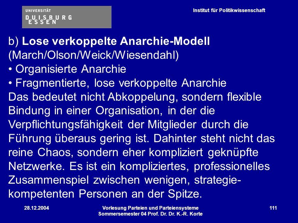 Institut für Politikwissenschaft 28.12.2004Vorlesung Parteien und Parteiensysteme Sommersemester 04 Prof. Dr. Dr. K.-R. Korte 111 b) Lose verkoppelte