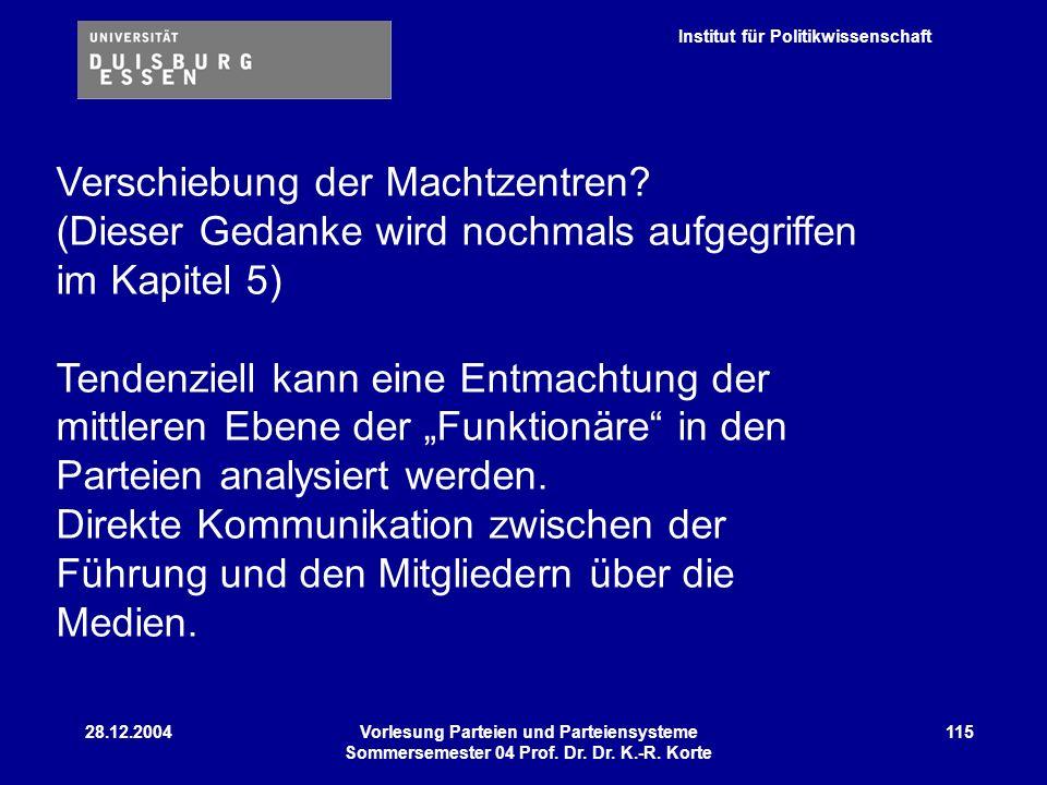 Institut für Politikwissenschaft 28.12.2004Vorlesung Parteien und Parteiensysteme Sommersemester 04 Prof. Dr. Dr. K.-R. Korte 115 Verschiebung der Mac