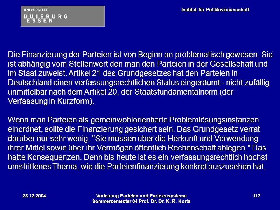 Institut für Politikwissenschaft 28.12.2004Vorlesung Parteien und Parteiensysteme Sommersemester 04 Prof. Dr. Dr. K.-R. Korte 117 Die Finanzierung der