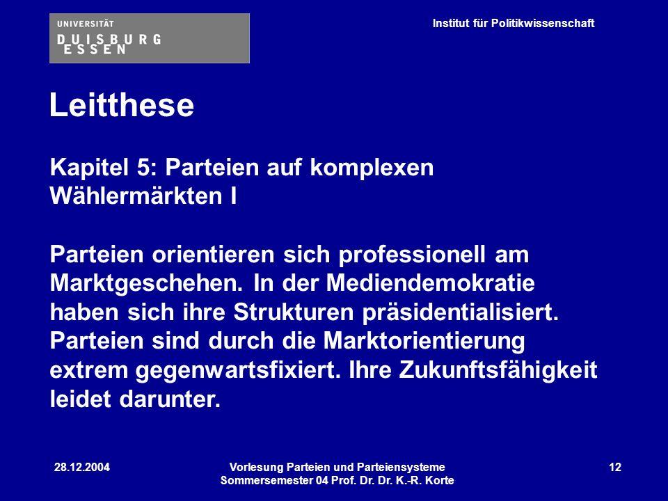 Institut für Politikwissenschaft 28.12.2004Vorlesung Parteien und Parteiensysteme Sommersemester 04 Prof. Dr. Dr. K.-R. Korte 12 Leitthese Kapitel 5: