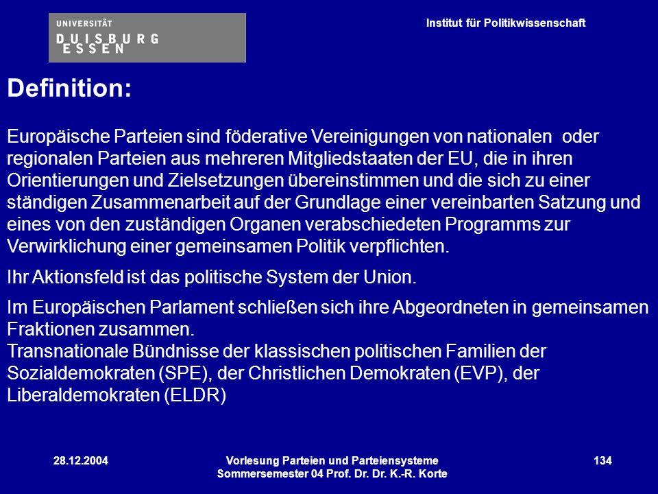 Institut für Politikwissenschaft 28.12.2004Vorlesung Parteien und Parteiensysteme Sommersemester 04 Prof. Dr. Dr. K.-R. Korte 134 Definition: Europäis
