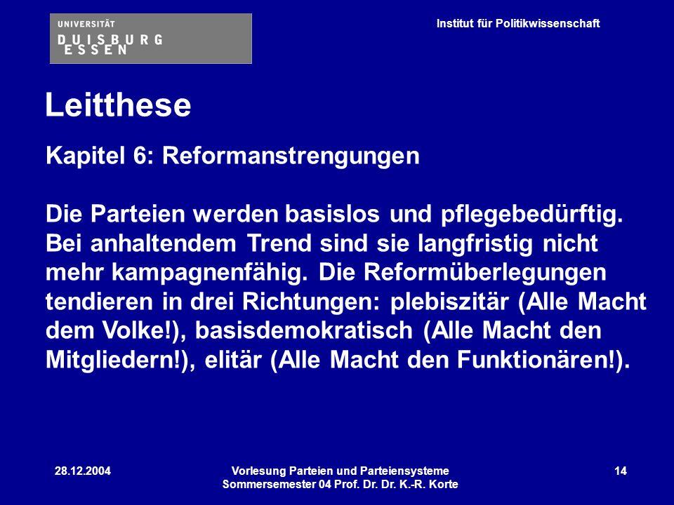Institut für Politikwissenschaft 28.12.2004Vorlesung Parteien und Parteiensysteme Sommersemester 04 Prof. Dr. Dr. K.-R. Korte 14 Leitthese Kapitel 6: