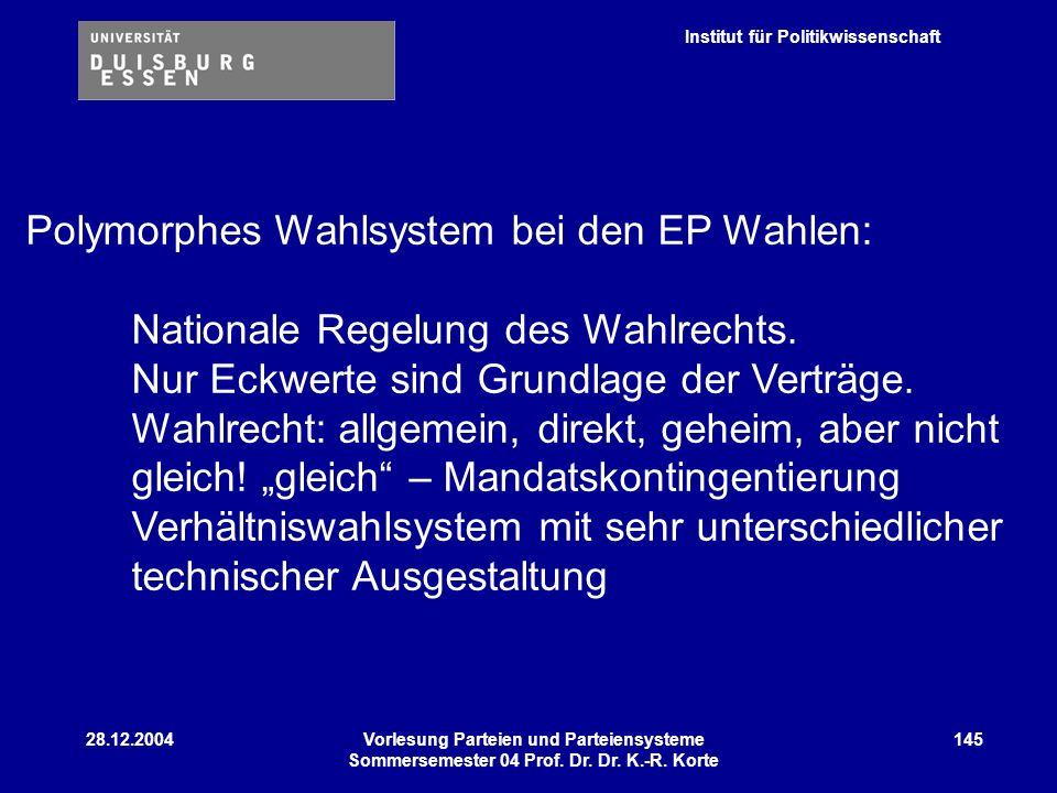 Institut für Politikwissenschaft 28.12.2004Vorlesung Parteien und Parteiensysteme Sommersemester 04 Prof. Dr. Dr. K.-R. Korte 145 Polymorphes Wahlsyst