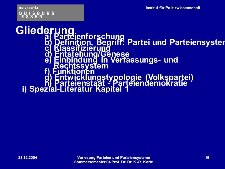 Institut für Politikwissenschaft 28.12.2004Vorlesung Parteien und Parteiensysteme Sommersemester 04 Prof. Dr. Dr. K.-R. Korte 16 Gliederung a) Parteie