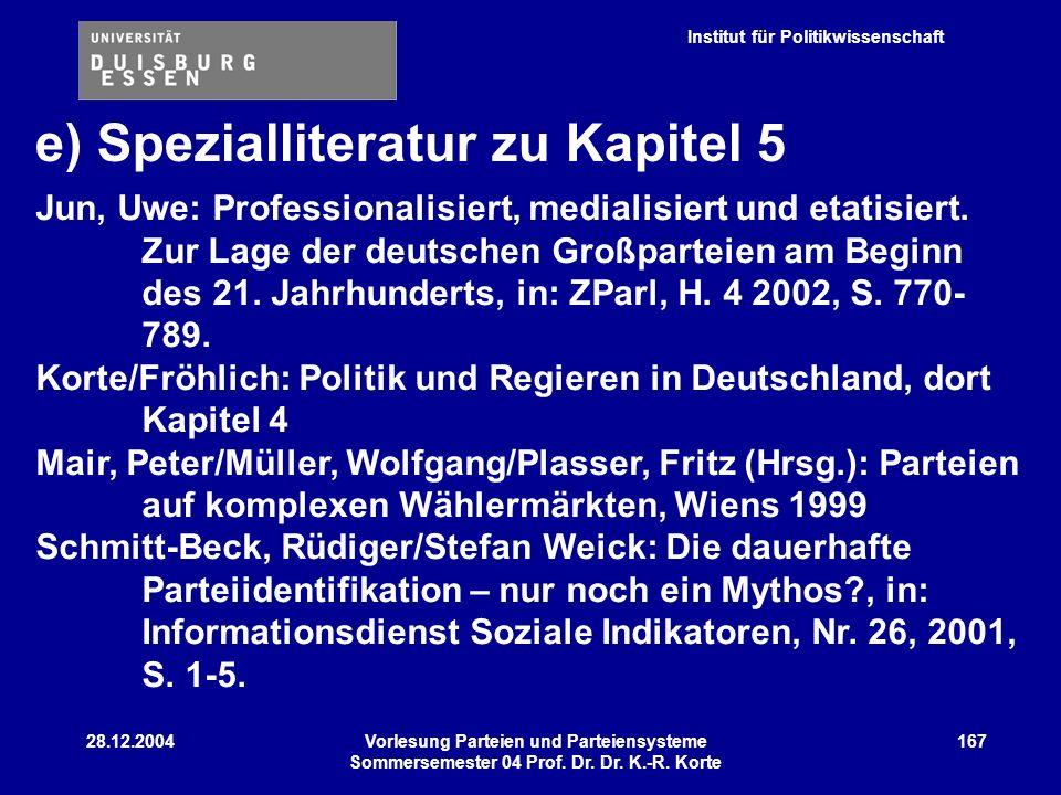 Institut für Politikwissenschaft 28.12.2004Vorlesung Parteien und Parteiensysteme Sommersemester 04 Prof. Dr. Dr. K.-R. Korte 167 e) Spezialliteratur
