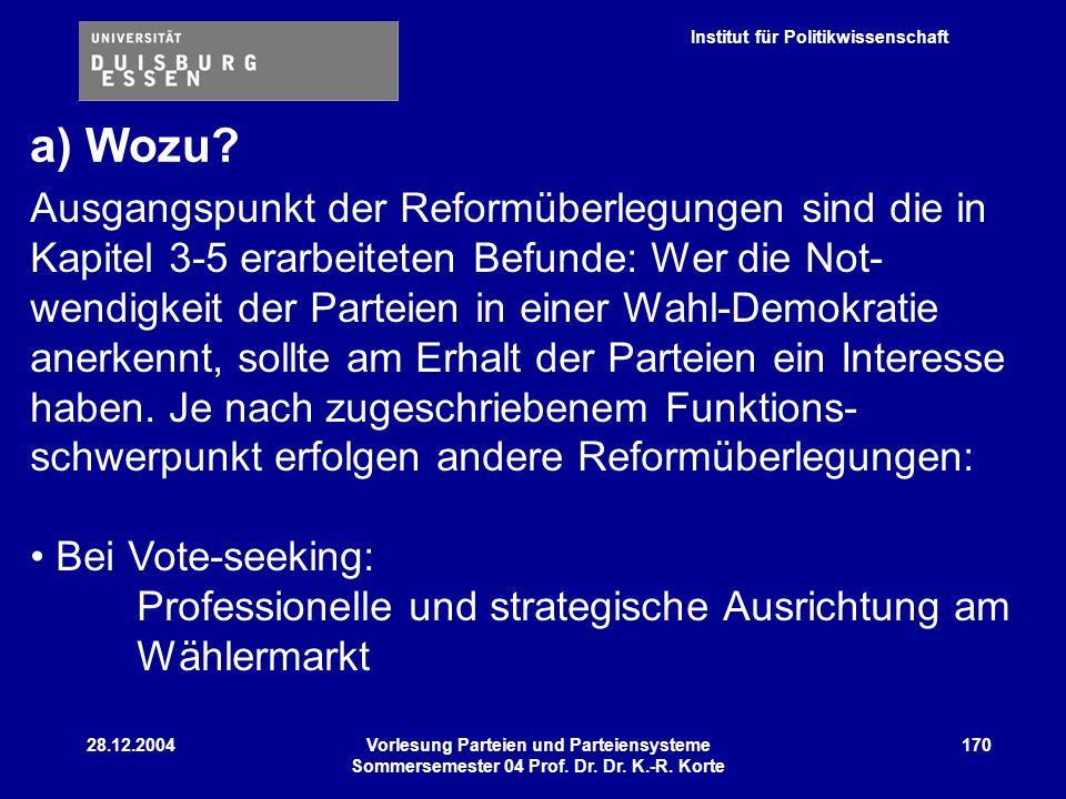 Institut für Politikwissenschaft 28.12.2004Vorlesung Parteien und Parteiensysteme Sommersemester 04 Prof. Dr. Dr. K.-R. Korte 170 Ausgangspunkt der Re