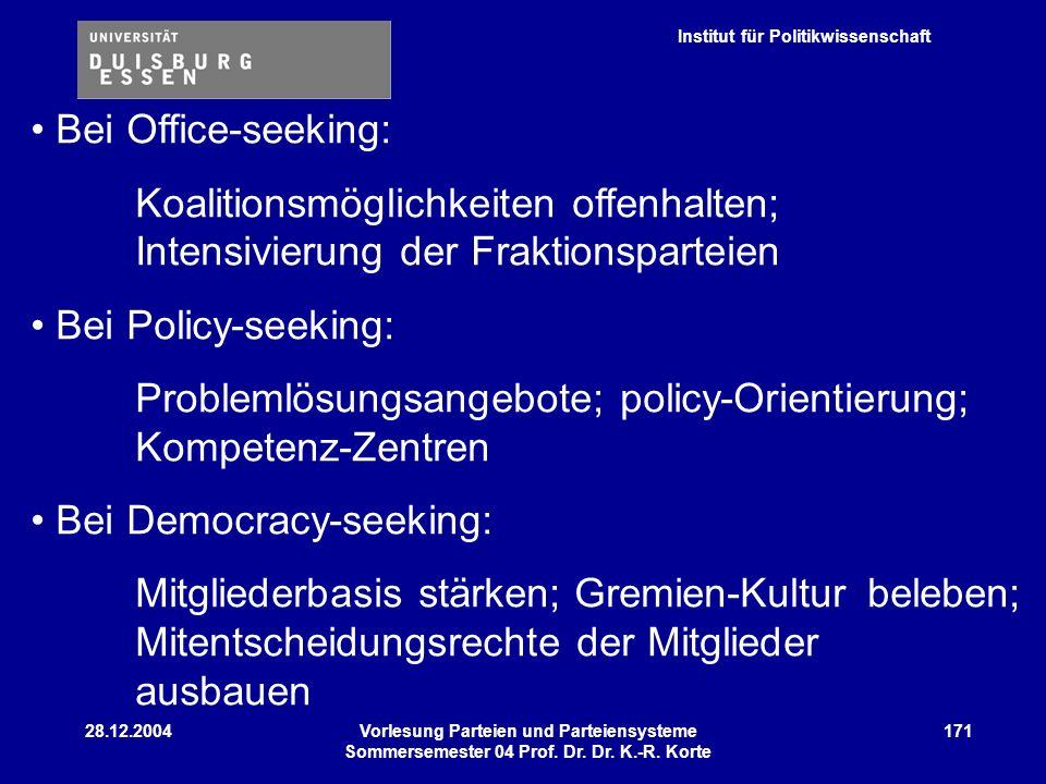 Institut für Politikwissenschaft 28.12.2004Vorlesung Parteien und Parteiensysteme Sommersemester 04 Prof. Dr. Dr. K.-R. Korte 171 Bei Office-seeking: