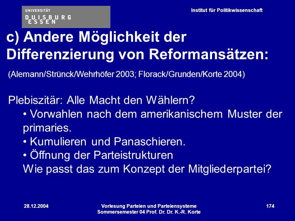 Institut für Politikwissenschaft 28.12.2004Vorlesung Parteien und Parteiensysteme Sommersemester 04 Prof. Dr. Dr. K.-R. Korte 174 (Alemann/Strünck/Weh