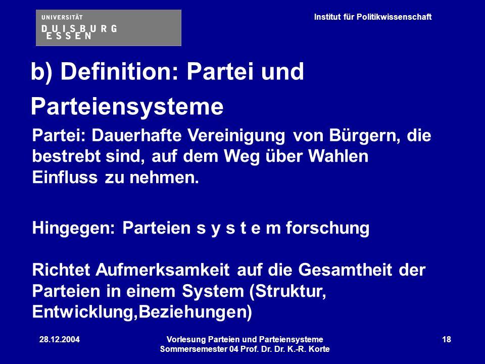 Institut für Politikwissenschaft 28.12.2004Vorlesung Parteien und Parteiensysteme Sommersemester 04 Prof. Dr. Dr. K.-R. Korte 18 b) Definition: Partei