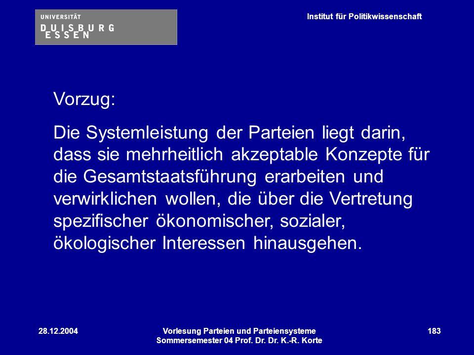 Institut für Politikwissenschaft 28.12.2004Vorlesung Parteien und Parteiensysteme Sommersemester 04 Prof. Dr. Dr. K.-R. Korte 183 Vorzug: Die Systemle