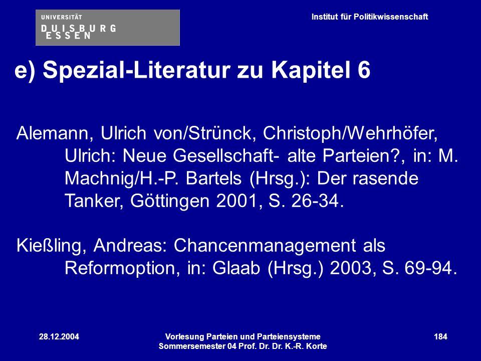 Institut für Politikwissenschaft 28.12.2004Vorlesung Parteien und Parteiensysteme Sommersemester 04 Prof. Dr. Dr. K.-R. Korte 184 Alemann, Ulrich von/