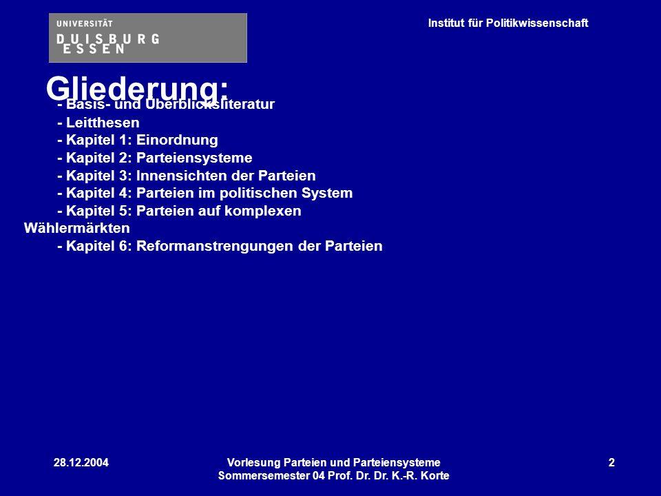 Institut für Politikwissenschaft 28.12.2004Vorlesung Parteien und Parteiensysteme Sommersemester 04 Prof. Dr. Dr. K.-R. Korte 2 Gliederung: - Basis- u