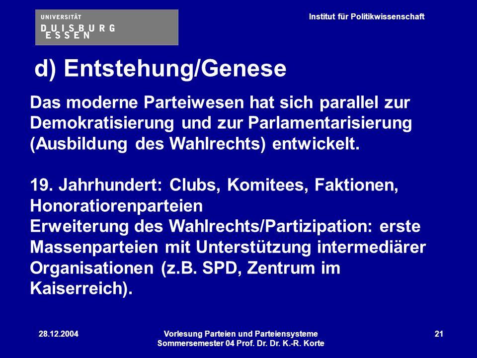 Institut für Politikwissenschaft 28.12.2004Vorlesung Parteien und Parteiensysteme Sommersemester 04 Prof. Dr. Dr. K.-R. Korte 21 d) Entstehung/Genese