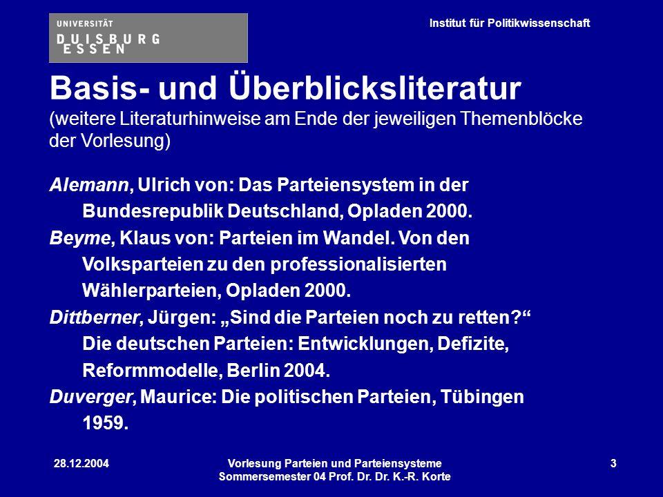 Institut für Politikwissenschaft 28.12.2004Vorlesung Parteien und Parteiensysteme Sommersemester 04 Prof. Dr. Dr. K.-R. Korte 3 Alemann, Ulrich von: D