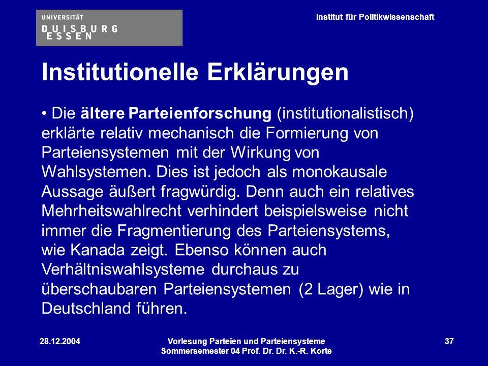Institut für Politikwissenschaft 28.12.2004Vorlesung Parteien und Parteiensysteme Sommersemester 04 Prof. Dr. Dr. K.-R. Korte 37 Institutionelle Erklä