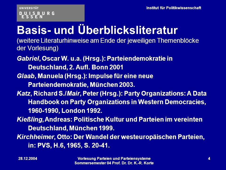 Institut für Politikwissenschaft 28.12.2004Vorlesung Parteien und Parteiensysteme Sommersemester 04 Prof. Dr. Dr. K.-R. Korte 4 Gabriel, Oscar W. u.a.