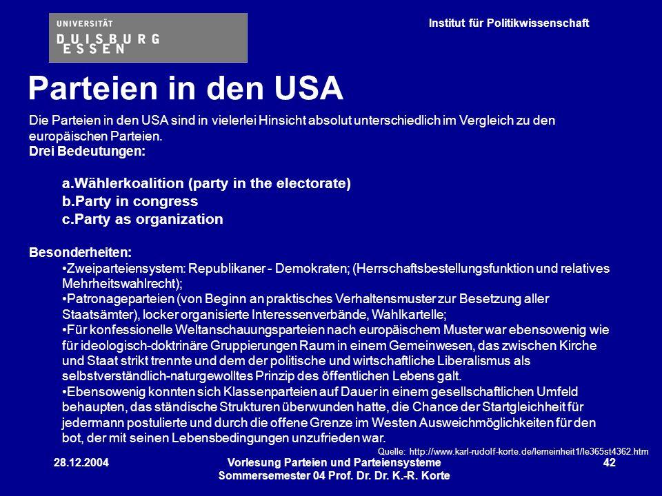 Institut für Politikwissenschaft 28.12.2004Vorlesung Parteien und Parteiensysteme Sommersemester 04 Prof. Dr. Dr. K.-R. Korte 42 Die Parteien in den U