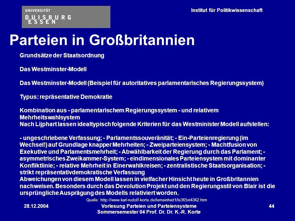Institut für Politikwissenschaft 28.12.2004Vorlesung Parteien und Parteiensysteme Sommersemester 04 Prof. Dr. Dr. K.-R. Korte 44 Parteien in Großbrita