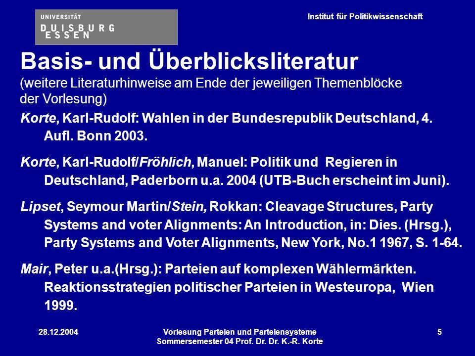 Institut für Politikwissenschaft 28.12.2004Vorlesung Parteien und Parteiensysteme Sommersemester 04 Prof. Dr. Dr. K.-R. Korte 5 Korte, Karl-Rudolf: Wa